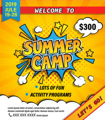 Summer camp invitation banner with handdrawn lettering in comic speech bubble on halftone background. Let's go camping and travelling on holiday. Template for posters, flyers. Vector illustration.