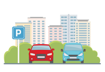Parking lot with two cars on city background. Flat style, vector illustration.