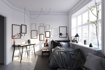 scandinavian style bedroom interior.