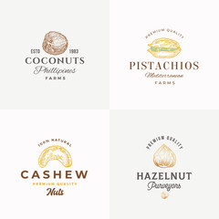 Premium Quality Nuts Abstract Vector Sign, Symbol or Logo Templates Collection. Cashew Nut, Coconut, Pistachio and Hazelnut Sillhouettes with Retro Typography. Vintage Emblems.