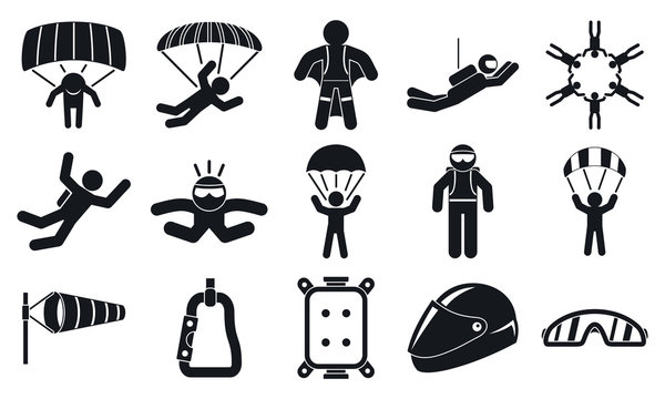 Skydivers icons set. Simple set of skydivers vector icons for web design on white background
