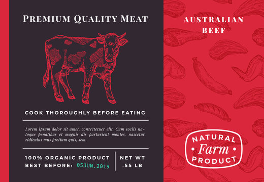 Premium Quality Meat Abstract Vector Beef Packaging Design or Label. Modern Typography and Hand Drawn Cow Sketch Background Layout. Seamless Food Pattern of Steak, Sausage and Wings