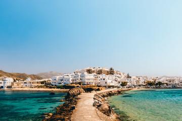 Cityscape of Naxos town on a sunny day, Naxos, Greece