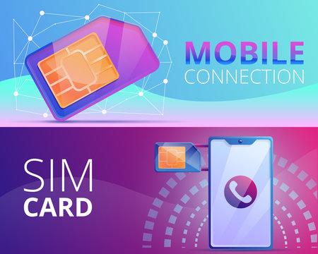Sim phone card banner set. Cartoon illustration of sim phone card vector banner set for web design
