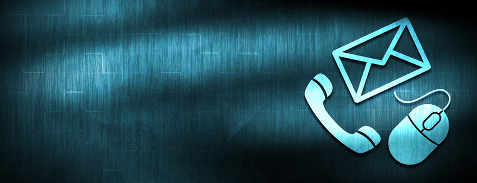 Contact icon abstract blue banner background