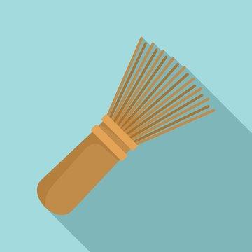Matcha tea whisk icon. Flat illustration of matcha tea whisk vector icon for web design
