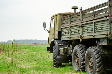 Side of Military Truck on Proving Ground