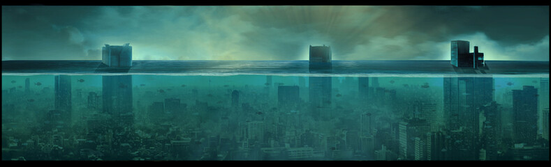 Nuclear underwater city, apocalyptic landscape, digital art Wall mural
