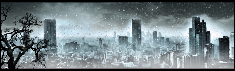 Nuclear winter, apocalyptic landscape, digital art Wall mural