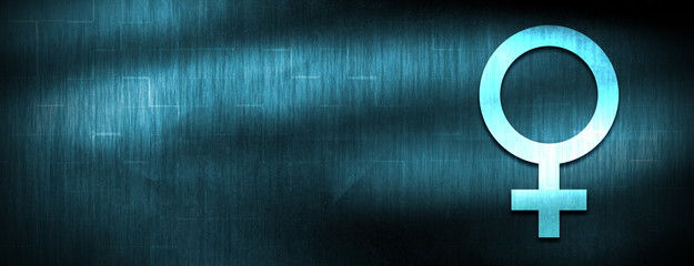 Female symbol icon abstract blue banner background
