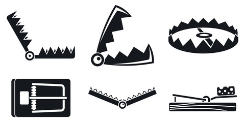 Trap catch icons set. Simple set of trap catch vector icons for web design on white background