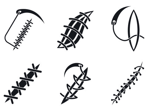 Suture icons set. Simple set of suture vector icons for web design on white background