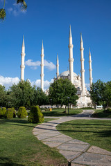 Wall Murals Nasa Sabanci Central Mosque from Central Park in Adana,Turkey. Sabanci Central Mosque with 6 Minarets. Turkish name; Adana Merkez (Sabanci) Camii.