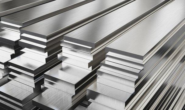 Warehouse of steel plates. Rolled metal products.