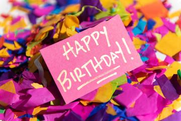 Card reading 'Happy Birthday!' on pile on confetti