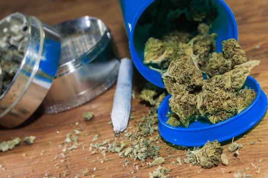 Medical Marijuana With Grinder & Rolled Joint An Alternative Herbal Medicine