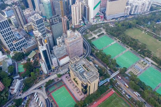 Aerial cityscape of Hong Kong, China