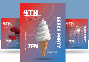 July 4th Party Flyer Set
