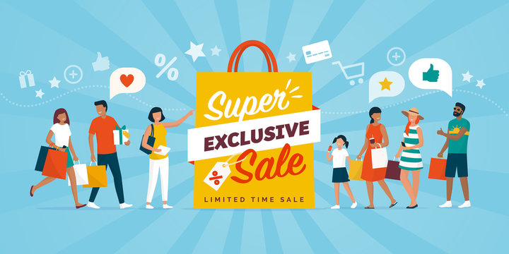 Exclusive sale discounts and people shopping