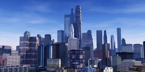 Beautiful modern city with skyscrapers, 3d rendering