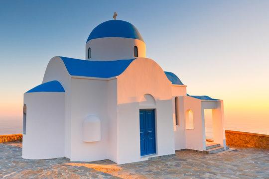 Church above Nikia village on Nisyros island in Dodecanese, Greece