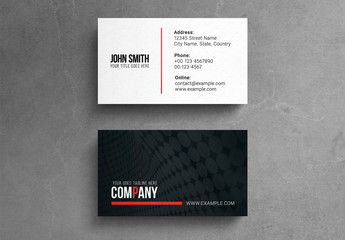 Business Card Layout with Black and Red Accents
