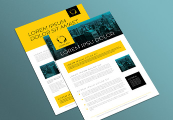 Two-Sided Business Flyer Layout with Yellow Elements and Blue Photo Masks