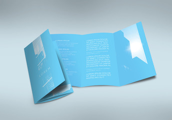 Contemporary Blue Tri-Fold Flyer Layout with Photo Masks