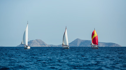 Fototapete - Sailing yacht boats at the Aegean Sea. Sailboats Regatta.