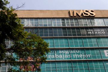 A logo of IMSS is pictured in Mexico City