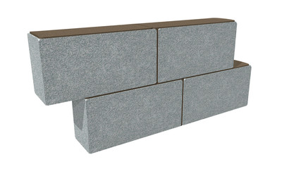 Graph showing the correct placement of concrete blocks on white background. 3D Illustration