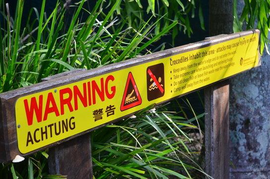 warning sign - no swimming - crocodiles