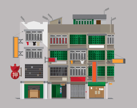 Vector illustration of an old building of Hong Kong-styled Tenement Houses (Shophouses).