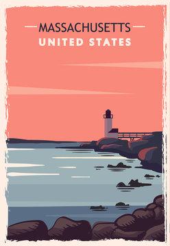 Massachusetts retro poster. USA Massachusetts travel illustration.