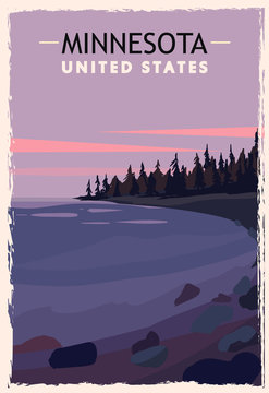Minnesota retro poster. USA Minnesota travel illustration.