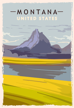 Montana retro poster. USA Montana travel illustration.