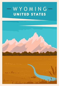 Wyoming travel retro poster. USA travel illustration.