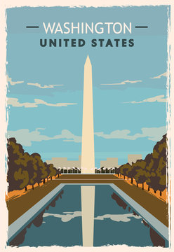 Washington monument retro poster. USA Washington travel illustration.