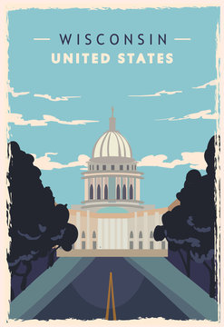 Wisconsin retro poster. USA Wisconsin travel vector illustration.