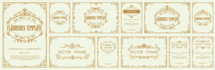 Foto auf AluDibond Retro Set of Decorative vintage frames and borders set,Gold photo frame with corner