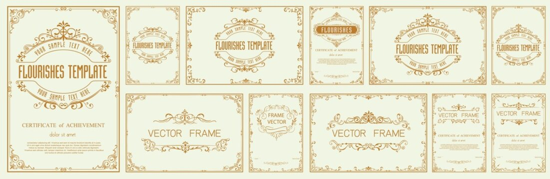 Set of Decorative vintage frames and borders set,Gold photo frame with corner