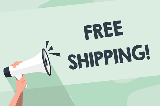 Word writing text Free Shipping. Business photo showcasing directly deliver to the recipient s is address without charge Human Hand Holding Tightly a Megaphone with Sound Icon and Blank Text Space