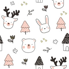 Seamless pattern head animal on white.
