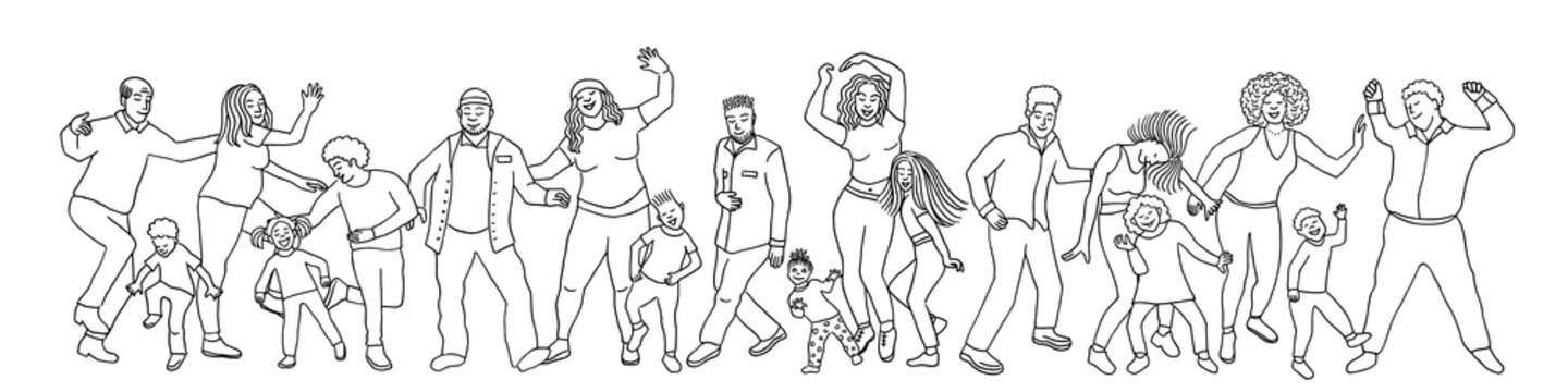 Hand drawn group of diverse people, children and adults, dancing happily together