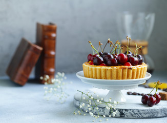 dessert mini tart with cottage cheese, berries and fruits