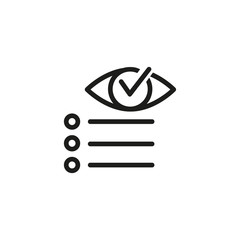 Agile development line icon. Eye with checkmark and task list. Agile development concept. Vector illustration can be used for topics like planning, management, startup