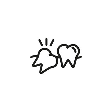 Wisdom tooth line icon. Pain, molar, crooked teeth. Teeth health concept. Vector illustration can be used for topics like dentist, orthodontist, stomatology