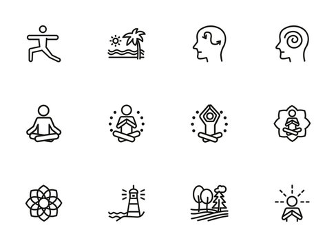 Meditation and yoga line icon set. Health, wellness, leisure. Buddhism concept. Can be used for topics like spirituality, peace, relaxation
