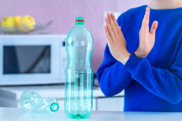Rejection of plastic bottles and plastic recycling. Environmental protection. Stop plastic