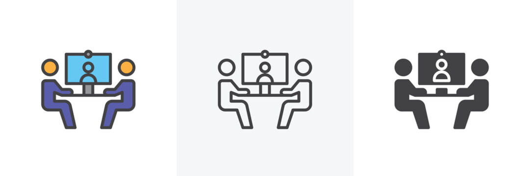 Video conference icon. Line, glyph and filled outline colorful version, businessmen communicate at a table outline and filled vector sign. Symbol, logo illustration. Different style icons set.